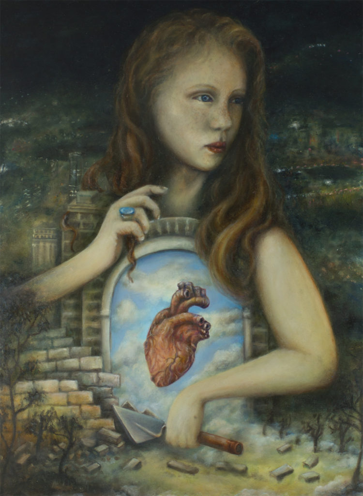 surreal heart painting
